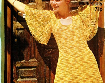 Original Boho Vintage 1970s Ladies ANGEL Dress Crochet Pattern, Womens Sirdar 5282 LACE, Go Go  Mod, Hippie, Groovy, Kitsch