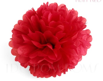 Ruby Red Tissue Paper Pom Poms - Wedding Party Decorations - Baby shower Decorations