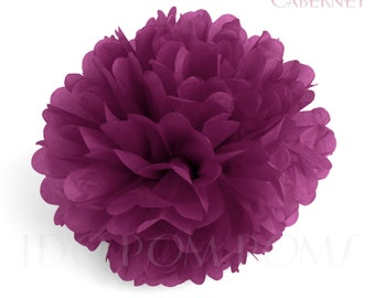 Cabernet -Burgundy Tissue Paper Pom Poms - Wedding Party Decorations - Baby shower Decorations