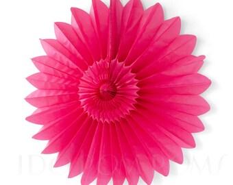Dark Raspberry Pink Tissue Paper Fans - Rosettes - Pinwheels - Wedding Party Decorations - Backdrop Decorations