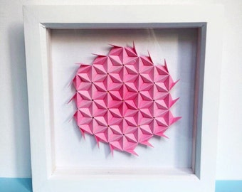 Floral Pink Origami Wall Art, 3D Origami Art, 3D Paper Art, Geometric Paper Art, Paper Wall Art, Modern Wall Art, Pink Home Decor, Pink Gift