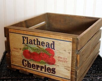 Vintage Fruit Crate, Rustic Wood Crate, Rustic Montana Box, Fruit Box, Reclaimed Wood Crate, Flathead Cherries, Farmhouse Crate