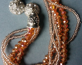 """Beautiful Natural / Champagne Multistrand Beaded Bracelet with Silver Magnetic """"Clasp"""""""