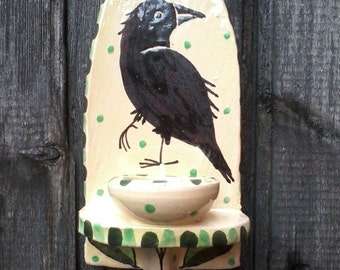 Crow candle sconce, candlestick, handmade crow candleholder, crow gift, crows, raven, dancingharepottery, handmade pottery, folk art, crow