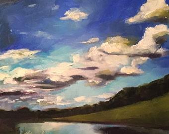 seeing for miles // original art // landscape painting // landscape art // art // painting // cloud painting // sky painting
