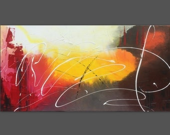 Abstract table painting large 100 x 50 cm