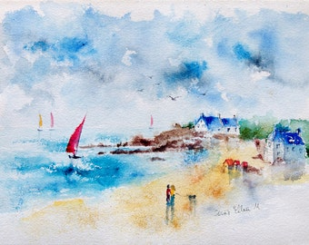 "Original  painting of landscape in Brittany in France, with ships, houses and the beach,  Original painting, seaside painting - 11"" x 14,5"""