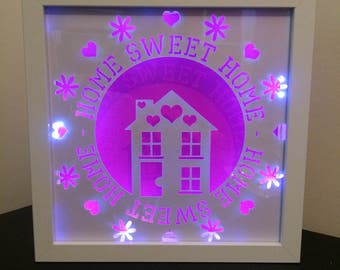 papercut light frame, home sweet home light frame, new home frame,