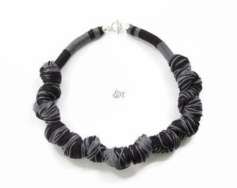 Black Silver Rope Necklace, Braided Necklace, Statement Necklace, Woven Necklace, Boho Necklace, Handmade