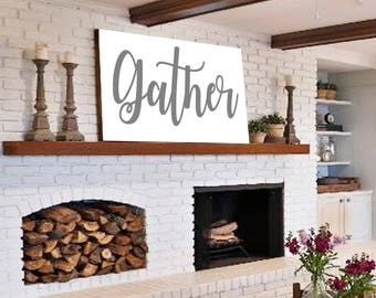 Gather Sign Gift for Her Wall Art Rustic Home Decor Shiplap Sign Home Decor Farmhouse Decor Sign Large Gather Wood Sign Gather Art Print