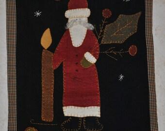 Primitive Wool Santa Wall Hanging