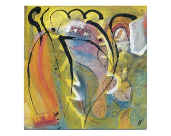Abstract figurative painting 15/15 cm (5.9/5.9 inch)