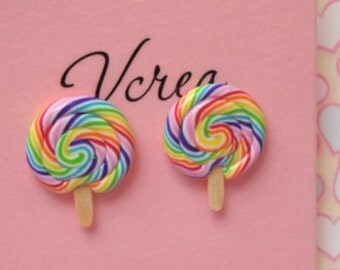 Rainbow Lollipop Studs