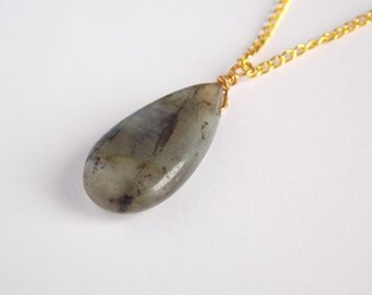 Labradorite Teardrop Necklace, Gold Plated Chain