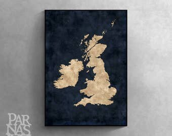 Map of British Isles, British Isles Wall Print, British Isles Map