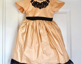 Pale Pink and Black Little Girl Dress
