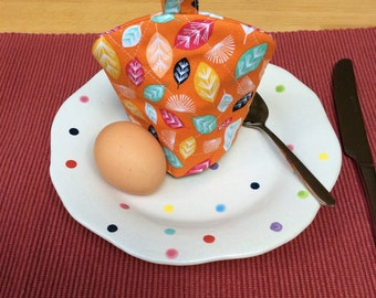Egg Cosy, Egg Cozie, Egg Warmer, Egg Cosy with Loop, Looped Egg Cosy, Housewarming Gift, Single Egg Cosy, Orange Egg Cosy, Lined Egg Cosy