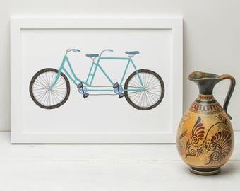 Tandem Bicycle Illustrated Print