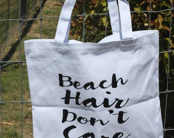 Beach Hair Don't Care 13.5x13.5 white canvas bag/Personalization available