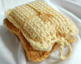 100% Cotton Soap Cozies, Soap Bag, Soap On A Rope, Soap Saver AND Wash Cloth SET