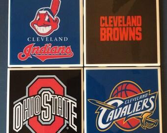 Custom Ohio sports teams coaster set