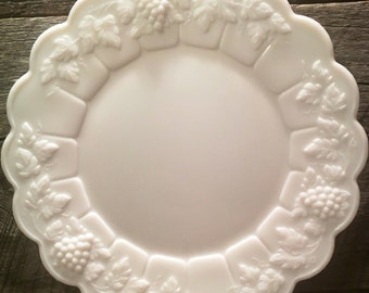 1950's Set of 2 (Two) Westmoreland Paneled Grape Milkglass LUNCHEON Plates, cottage chic, bed and breakfast, weddings