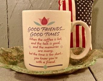 Hallmark, Hallmark Coffee Mug, Good Friends, Good Times, Valentines Mug, Vintage Hallmark, Vintage Valentines, Friends Mug
