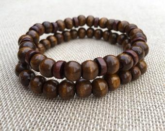 Men's Beaded Bracelet Wooden Bead Bracelet Men Wooden Beads Bracelet Set Of 2 Bracelets Unisex Bracelet Wooden Jewellery Gift For Him