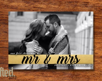 First Christmas Card  - Mr and Mrs - Newlywed Christmas Announcement - Printed or Printable - Free Shipping