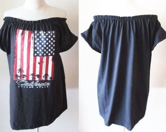 USA flag ruffle Off the Shoulder Top or dress S-2XL