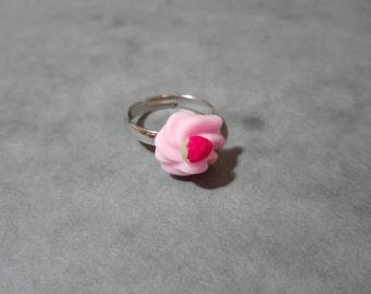 Pink Whipped Cream Ring, Polymer Clay Ring