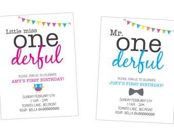 First birthday boy, girl printable, customised birthday invitation