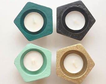 Concrete tealight holder, pentagon, concrete decor, wedding favour, party favour, candle, emerald green, blush pink decor