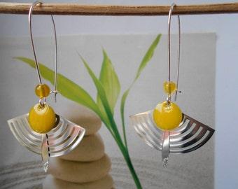 enamelled yellow sequin silver range earrings