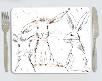 Rabbit placemat, personalised rabbit placemat, childrens placemat, country kitchen