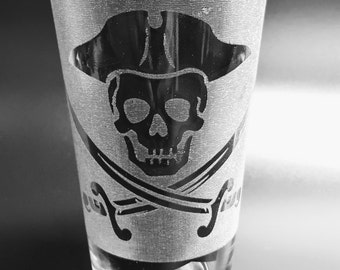 Etched Jolly Roger Pub Glass