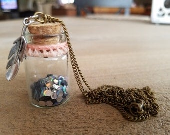 Message In A Bottle Necklace- Blush Ribbon