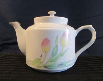 """Vintage White Glass Porcelain Teapot from the """"Spring Collection"""""""