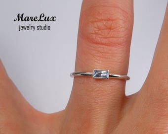 Baguette Cut Aquamarine Silver Ring, March Birthstone 925 Silver Minimalistic Ring, Stackable Sterling Ring Synthetic Blue Aquamarine Ring