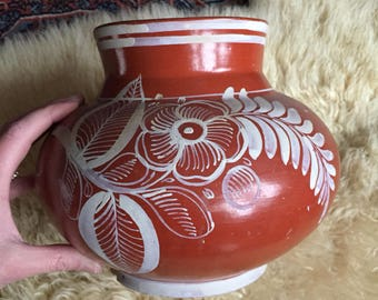 Vintage ceramic red planter with painted white flower, red vase with painted flower