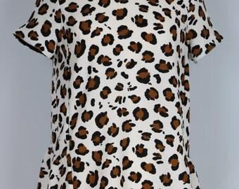 1990s Leopard Top - Animal Print Blouse - Peplum - Short Sleeve - Brown White Black - Back Button Up - Size Small Medium