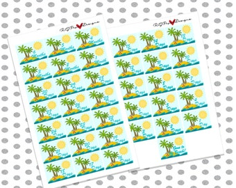 Beach Vacation Countdown( 37 Stickers)// Erin Condren Life Planner, Happy Planner, Plum Planner, Filofax & more!