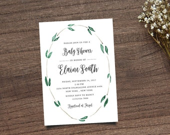 Leafy Invitation, Wreath Invitation, Wreath Shower Invite, Shower Invitation, Baby Shower Invite, Calligraphy Invite, Printable Invite