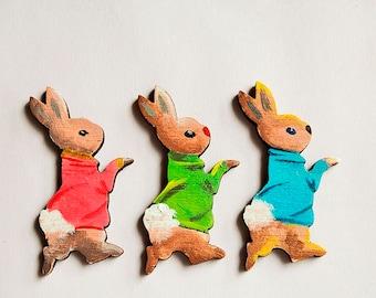 Peter Rabbit hand painted wooden brooch