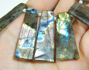 Multi Flash Labradorite Baguette Beads Trapezoid 100% Natural Gemstone Size 19.5x10 To 43x11.mm Approx