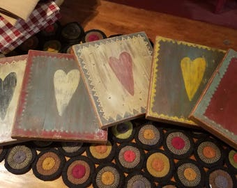 Folk art primitive handpainted heart wall hanging
