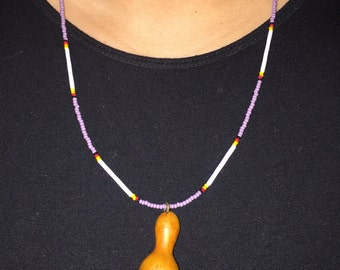 Seed bead necklace with mini gourd