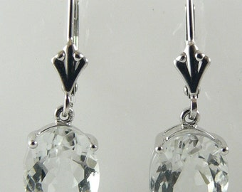 Green Amethyst 4.91ct Dangle Earring 14k White Gold Lever Backs