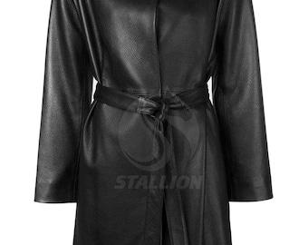 BNWTStallion Women's LAMBSKIN Leather Coat Knee Length ST424