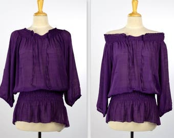 Elegant Off Shoulder Tunic Top, Shirring Elastic Blouse, Ruched Collar Tunic Top, Ruched Waist Top, Violet, One Size (Fits S to XL)